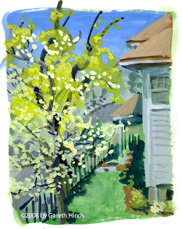 Gouache painting of Watertown neighborhood