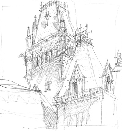 Harvard's Memorial Hall - panecil sketch