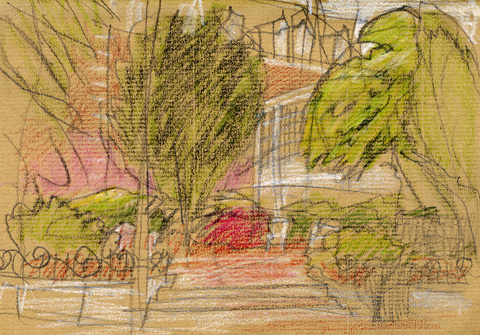 Sketch of the little garden at Mass Ave and Harvard St.