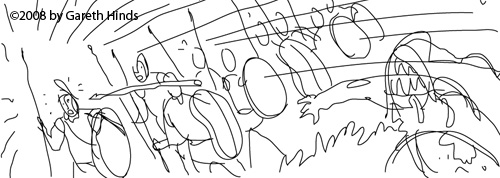 A rough layout sketch of Odysseus' father Laertes throwing a spear at Eupithes
