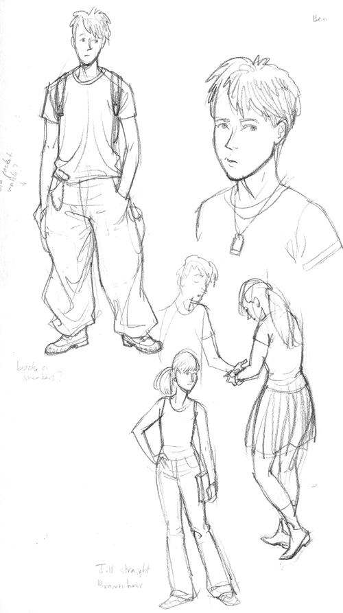 Character sketches for middle grade novel, by Gareth Hinds