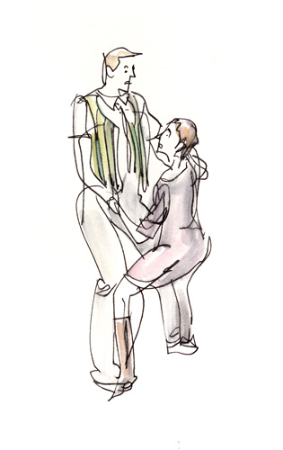 Hermia tries in vain to hold Lysander - ASP Midsummer sketches 24