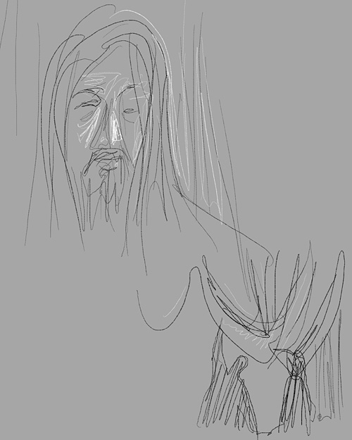 "sketch by Gareth Hinds from the film ""Mongol"""