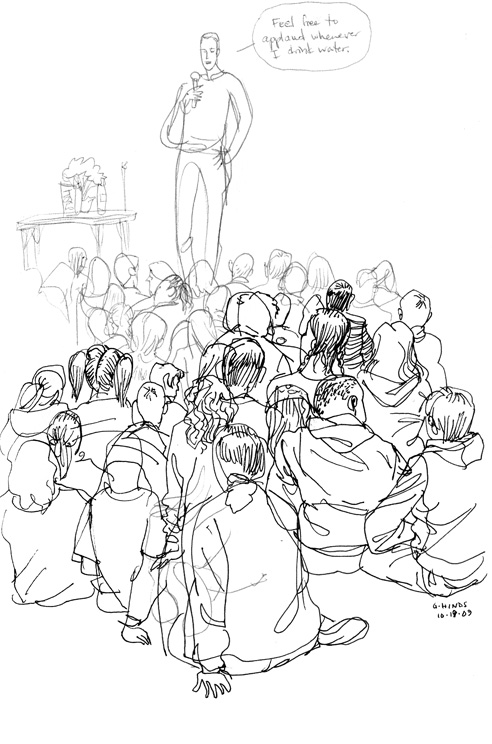 Trenton Lee Stewart author visit sketch